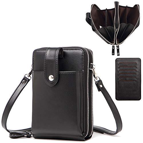 Geldbörse Damen Männer Umweltfreundliches Ultra-Mikrofaserleder RFID Schutz, Damen Geldbeutel Umhängetasche Große Kapazität, Damen Portemonnaie mit Handyfach PowerBank Tasche