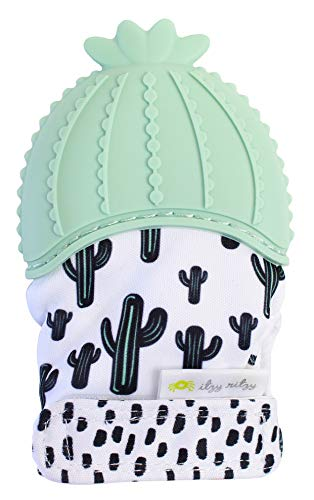 Itzy Ritzy Silicone Teething Mitt – Soothing Infant Teething Mitten with Adjustable Strap, Crinkle Sound and Textured Silicone to Soothe Sore and Swollen Gums, Cactus