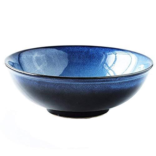 HUAHUA Bowls Cuenco de cerámica tazón grande de ensalada de fruta pasta con la capacidad tazón de sopa de fideos ramen cuenco de cerámica creativa Vajilla for microondas de 8,5 pulgadas azules