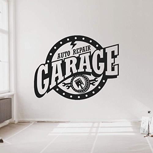 Nueva reparación de automóviles GarageSilhouette Etiqueta de la Pared Servicio de automóvil Taller de Garaje Calcomanía Arte de la Pared Decoración 148x114cm