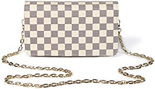 Daisy Rose Checkered Cross body bag - RFID Blocking with Credit Card slots clutch -PU Vegan Leather