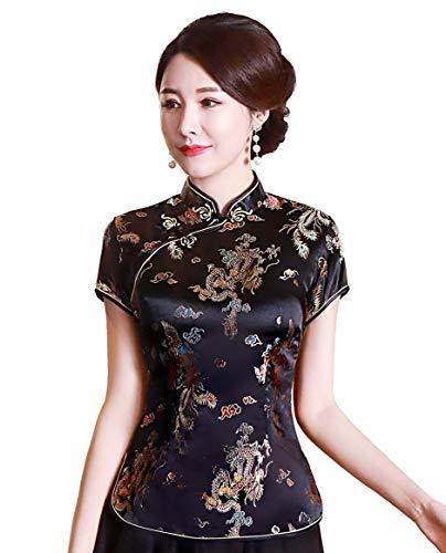 Shanghai Story Chinese Cheongsam Shirt Short Sleeve China Blouse for Women 8 B Black