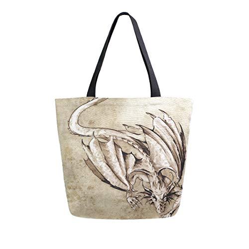 Leichte Gurt Geldbörse Einkaufen Cool Dragon Sketch Tattoo Pferd für Frauen Mädchen Damen Student Umhängetaschen Handtaschen Einkaufstasche