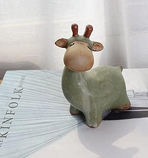 Ceramic Home/ Garden Flower Planter Pot - Handmade by High Temperature Fired Ceramic - Creative Vintage Cute Small Deer Design