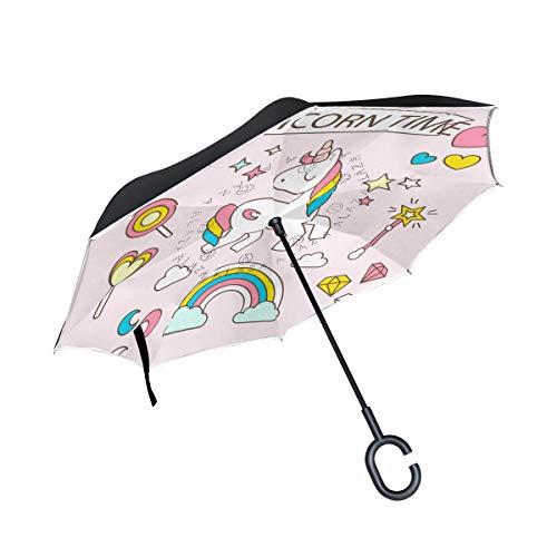 FANTAZIO Paraguas invertido Unicornio Time Doble Capa protección UV reversa Paraguas autosoporte en Forma de C asa Interior Plegable/desplegable Resistente al Viento y Repelente al Agua