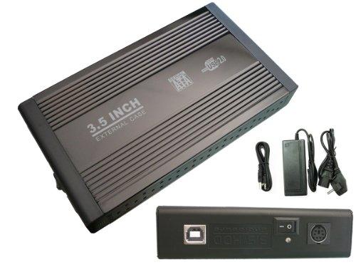 Caja externa para discos duros IDE de 3,5 pulgadas, con alimentación, aluminio, color negro