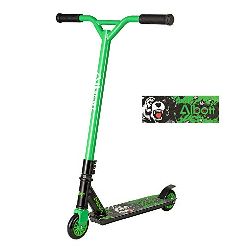 Albott Pro Scooters Stunt Scooter - Complete Trick Scooters Beginner Freestyle Sports Kick Scooter with Fixed Bar Scooter for Kids 8 Years and Up,Boys,Teens,Adults (Green)