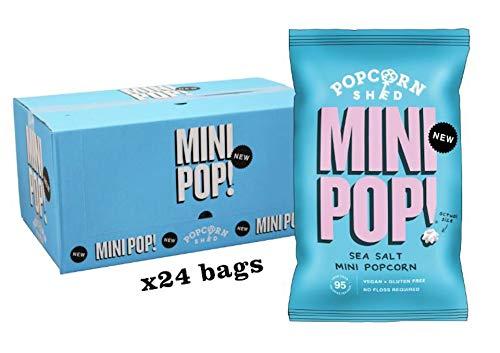 Mini Pop!® Sea Salt Mini Popcorn (Doos met 24 stuks) – Veganistisch, Gluten vrij, Lactose vrij, allergeen vrij, een calorie arme gezonde snack.