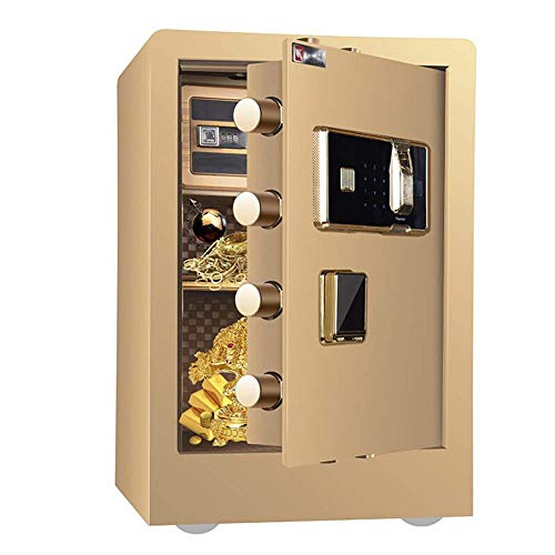 NewbieBoom Caja de Seguridad electrónica Digital, 40 x 34 x 60 cm, biométrica con Huella Dactilar, Home Steel Safe, Pantalla LED, para Office Hotel Jewelry Gun Cash Medication, marrón, marrón