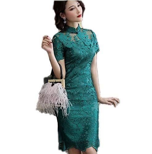 Collar chino tradicional de estilo chino para mujer, elegante, hecho a mano, con botn de mandarn sexy verde XL