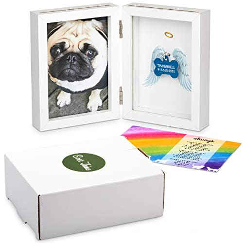 Ever Thine Pet Memorial Picture Frame and Keepsake — White Frame (4x6) and Display for Pet's ID Tag/Memento — Beautiful Pet Remembrance Gifts
