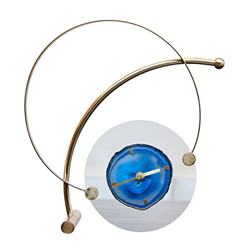 SESO UK- Postmodern Design Tischuhr stille Schreibtisch dekorative Uhren mit blauen Achat für Wohnzimmer