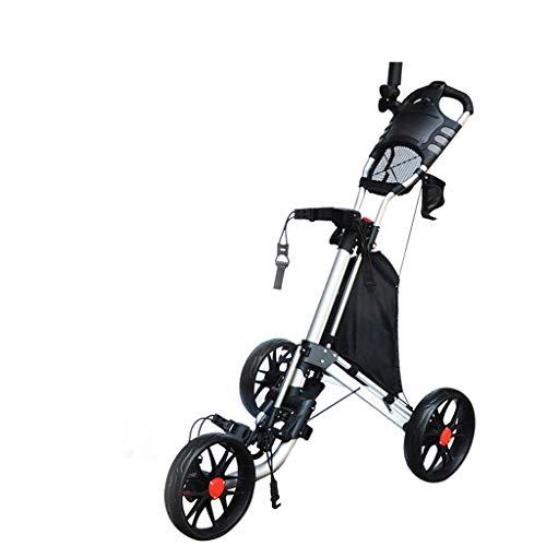 haozai 3-Rad Golf Push Trolley Für Golftaschen/Golfbags Wagen, Scorecard, Fußbremse,Einfach Zu Tragen Und Zu Falten
