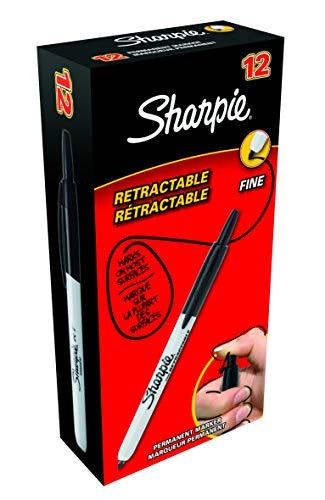 Sharpie Fine Retractable Punta fina Negro 12piezas
