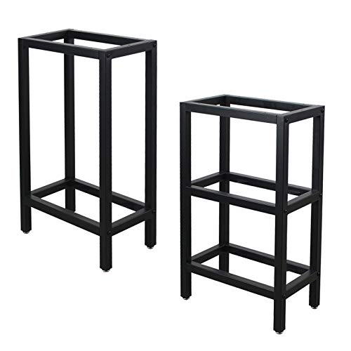 """MBQQ Furniture Legs 28""""Height 17.7""""Length 9.8' Width,Rustic Office Table Legs with Shelves,Heavy Duty Metal Desk Legs,Dining Table Legs,Industrial Modern,Iron Bench Legs,DIY Butcher Block Table"""