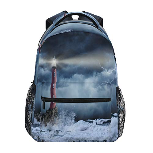 Mochila escolar ADMustwin Lighthouse Ocean Reef Lightning Travel...