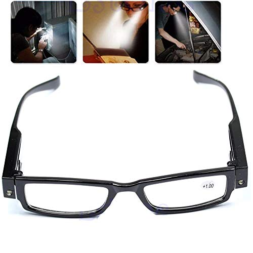 Happy Hours - Ultra Bright Hand Free Full Black Frame Easy Touch Switch Dual LED Lighted Up Map Book Readers Reading Eye Glasses Eyeglass Spectacle Diopter Magnifier Light Up Presbyopic Glasses + Batteries (Strength:+2.50 )