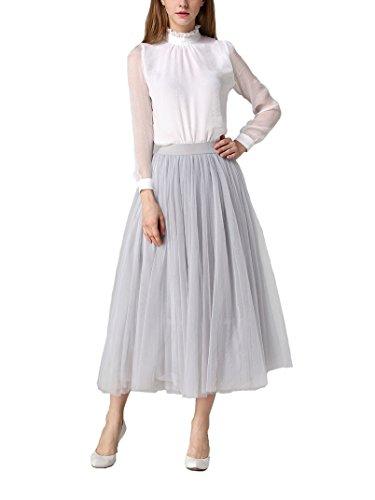 DEBAIJIA Damen Midi Rock Plissee Hohe Taille Elastisch Damen Netz Garn Lange Röcke Sommer Einfarbig, grau, One size