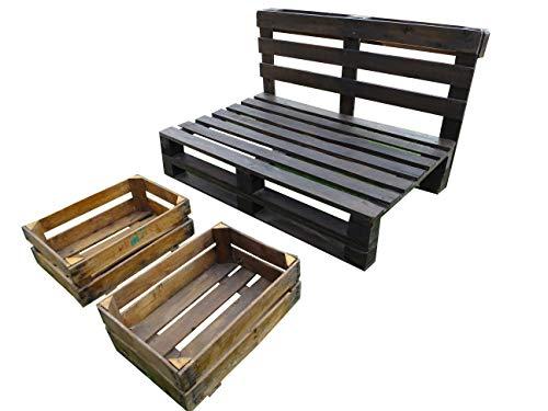 Estructura de Sofá Hecha con Palets/Pallets Color Nogal con Respaldo para Interior & Exterior para Patio, Jardín Hecho con Palets de Madera
