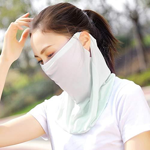 Lydiaei Sommer Ice Silk Sunscreen Maske Solid Color Uv Schutz Ohrschutz Maske Riding Mask(None Flour.)