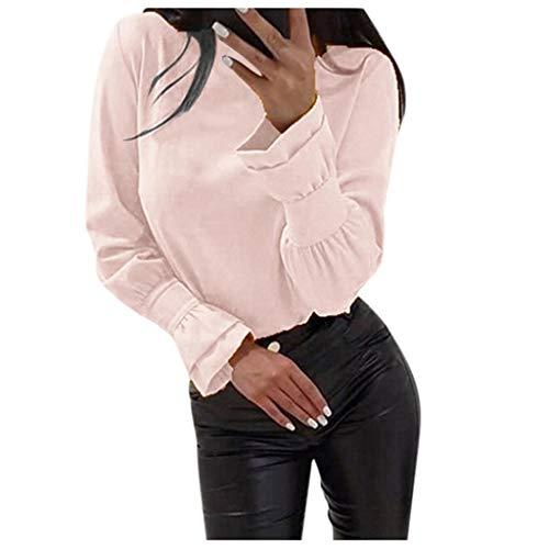 GOKOMO Damen Pullover Basiv Longsleeve Tops Leisure Leichtgewicht Jumper Sweater(Rosa,Small)