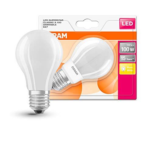 OSRAM LED Superstar Classic A, Sockel: E27, Dimmbar, Warmweiß, Ersetzt eine herkömmliche 100 Watt Lampe, Matt