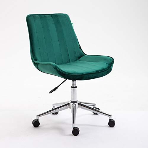 Cherry Tree Furniture Cala Pine Green Colour Velvet Fabric Desk Chair Swivel Chair with Chrome Base