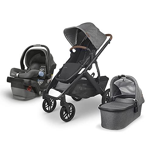 UPPAbaby Vista V2 Stroller - Greyson (Charcoal Melange/Carbon/Saddle Leather) + Mesa Infant Car Seat - Jordan (Charcoal Melange) Merino Wool