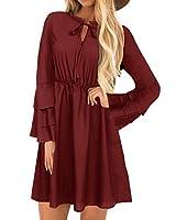 yoins abito donna girocollo manica lunga vestito inverno tunica ampia con maniche lunghe camicetta lunga vestiti da cocktail vino rosso-01 xxl