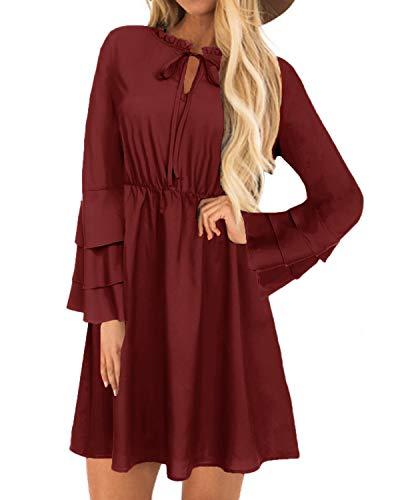 YOINS Abito Donna Girocollo Manica Lunga Vestito Inverno Tunica Ampia con Maniche Lunghe Camicetta Lunga Vestiti da Cocktail Vino rosso-01 S