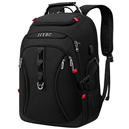 IIYBC Travel Laptop Backpack,15.6-17.3 Inch Business Laptop Backpack Bag with USB Charging Port,TSA Water Resistant Daypack School Luggage Computer Rucksack for Men/Women …