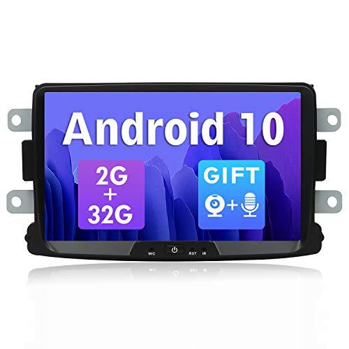 SXAUTO Android 10 Autoradio Compatible Duster/Dacia Sandero/Lada Xray 2/Captur - [2G+32G] - Libre Cámara Canbus - 1 DIN - 8 Pulgada - Soporte Dab 4G WLAN Bluetooth5.0 Carplay Volante Android Auto