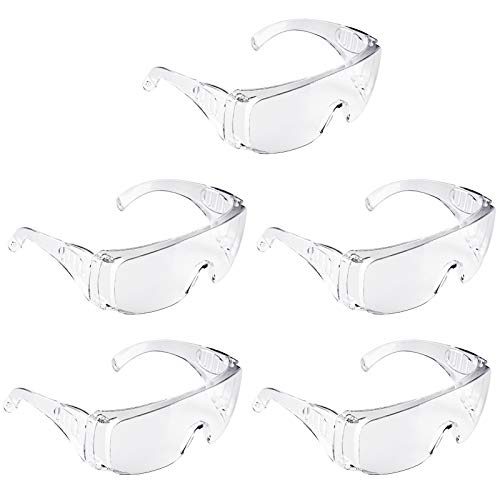Adoric Schutzbrille 5 Pack Schutzbrille Vollsichtstaubbrillen Professionelle Überbrille Arbeitsschutzbrille gegen Staub und TröpfchenIdeal für Baustelle, Werkstatt, Garten und Radsport
