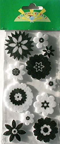 Pw International - Lot de 11 décorations fleurs en feutrine - Noir et Blanc