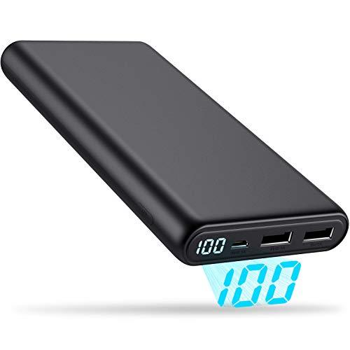 モバイルバッテリー 大容量 24800mAh 小型 LCD残量表示 【PSE認証済 24ヶ月保証】 携帯充電器 急速充電 2US...