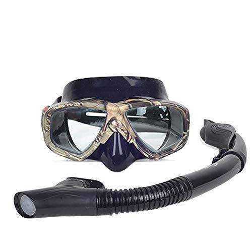 GLOOZD Camuflaje Profesional de Buceo de Buceo y snorkels Anti-Niebla Gafas Gafas Conjunto Buceo Nadando Sencillo de Tubo de Aliento fácil