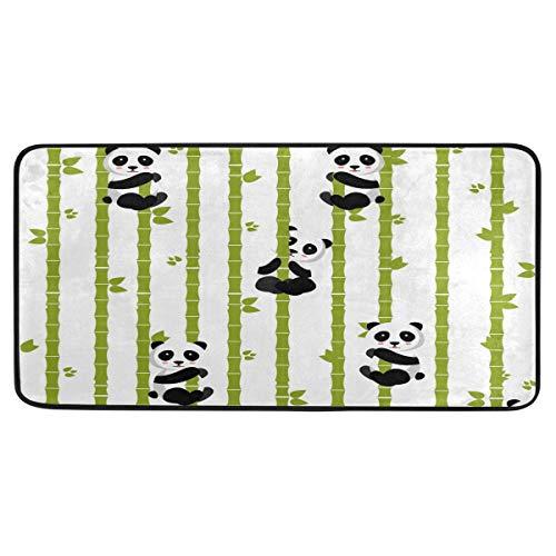 Bigjoke süßer Panda-Tier-Bambus-Teppich, rutschfester Teppich, Gummi, komfortable Fußmatte für Küche, Badezimmer, Heimdekoration, 99 x 51 cm