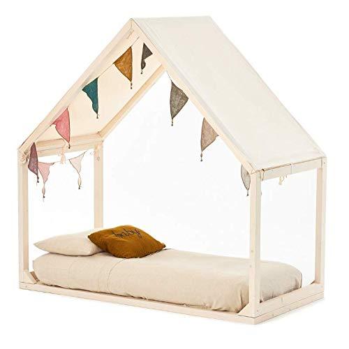 Kinderbett Montessoriano 'Ektomio, handwerklich zu 100% aus Italien, massive, gebleichte Fichte, Dach aus 100% Baumwolle Large Bianco