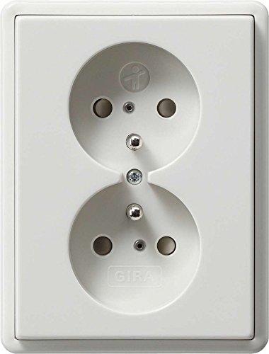 Gira 079503 dubbel stopcontact grondpen kinderbeveiliging standaard 55, zuiver wit