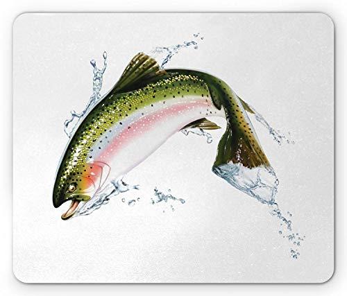 Fisch-Maus-Pad, Lachs springt aus dem Wasser Spritzer Cartoon Design Fotorealistische Airbrush, Rechteck rutschfeste Gummi-Mauspad, Standardgröße, Grün Pink