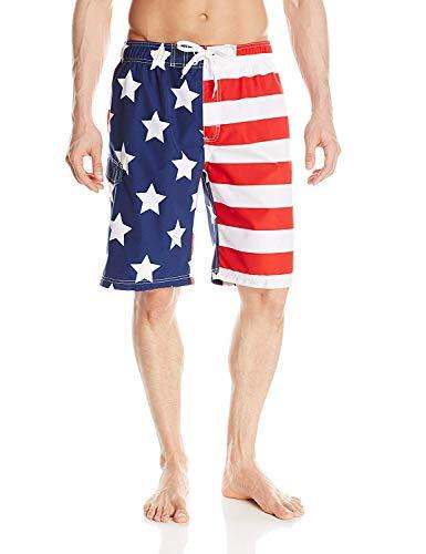 Kanu Surf Men's Barracuda Swim Trunks (Regular & Extended Sizes), USA American Flag, Large