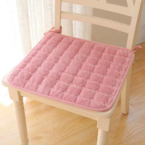 XHNXHN - 2 cuscini per sedia da pranzo in flanella, in peluche, per sedia da ufficio, quadrato, trapuntati, con laccetti, 40 x 40 cm, colore: Rosa