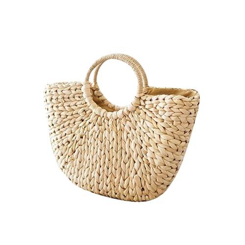Bolsos de paja Bolsas de paja para mujer bolsa de ratán de verano bolsa de playa tejida hecha a mano Bohemia Bali Bolso Bolsos (Color : Small khaki, Size : Natural)
