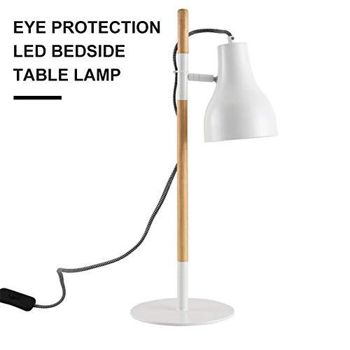 Mijogo Tafellamp van hout, tafellamp met zware sokkel, natuurlijk hout met lampenkap zwart, moderne tafellamp verstelbaar industrial Accanto slaapkamer kinderen