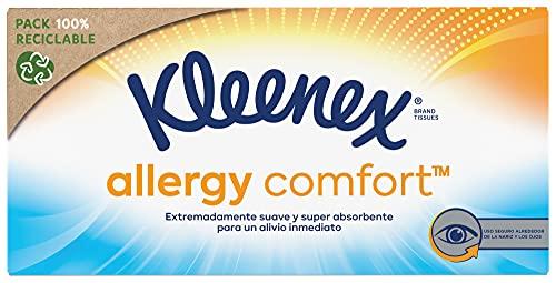Kleenex Allergy Comfort Mouchoirs en Papier Boîte de 56 Mouchoirs, Orange Jaune Bleu, 1 Unité