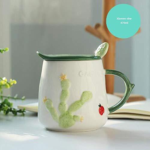 Keramische mok met deksel lepel koffiemok creatieve beker lieve mok mok ontbijt mok (cactus)