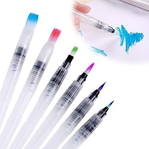 HENGBIRD Unterschiedliche Dicken Wassertankpinsel Aquarell Profi Water Brush Pen Wasserpinsel Set mit Tank für Aquarell / 6 Wassertankpinsel für Wasserfarben Malerei Beschriftung