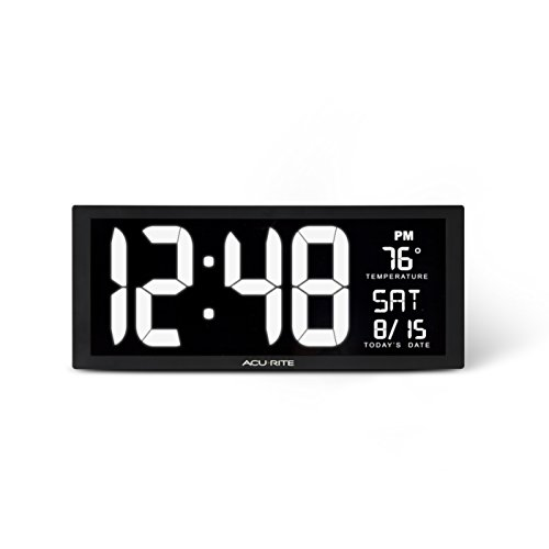 "AcuRite 75159M 14.5"" Large White LED Digital Clock Inch"