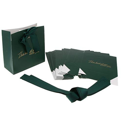 Fenteer 12pcs Sac à Main Mariage Sac Fourre-tout à Bonbon Papier Chocolat Cadeau - vert
