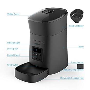 MYPIN Distributeur Chien Distributeur Chat Distributeur Automatique de Nourriture, Distributeur de croquettes Automatique pour Chien et Chat (Noir)